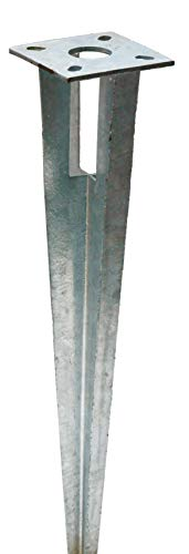 Zaun-Nagel Bodenhülse Einschlaghülse mit Kopfplatte Pfostenträger für Rundpfosten 38 mm Ø, Länge 50 cm