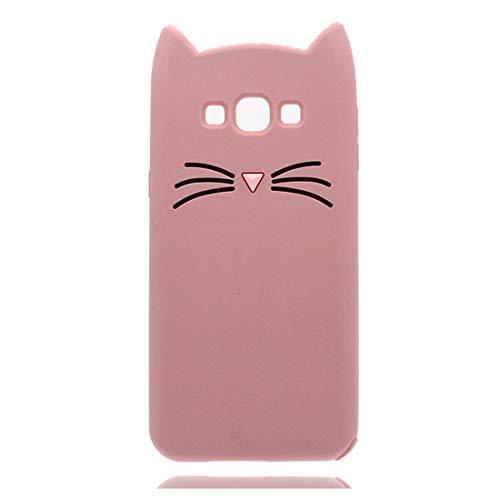 YuanYuZhongPhoneSky Silikon Samsung Galaxy E7 Hülle 3D Entwerfen Ohr Katze Premium Material Slim Vollschutz handyhülle für Samsung Galaxy E7 Mädchen Case Stoßfest/rosa