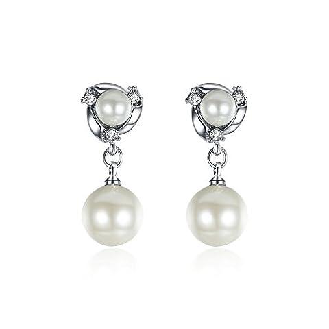 BODYA 14K White Gold tone simulated Pearl Diamond Crystal Rhinestone Dangles Drop Bridal Earrings