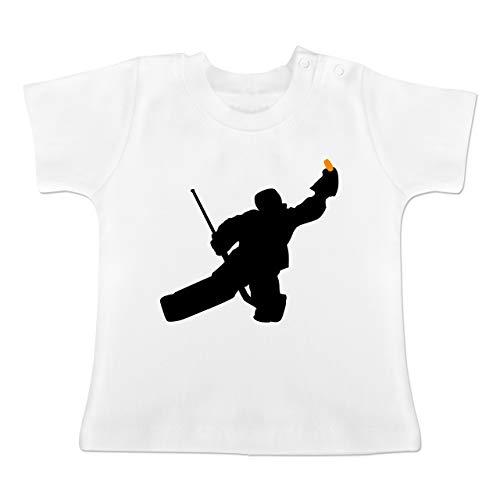 Sport Baby - Towart Eishockey Eishockeytorwart - 6-12 Monate - Weiß - BZ02 - Baby T-Shirt Kurzarm