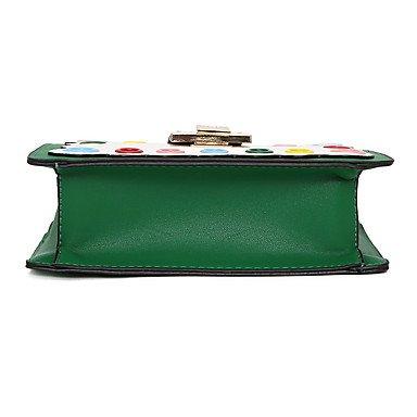 SUNNY KEY-Borsa a tracolla @ Da donna PU (Poliuretano) Per tutte le stagioni Baguette Con fermaglio Verde Nero Rosso Rosa Beige , beige red