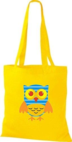 diverse niedliche Tragetasche Farbe Eule ShirtInStyle gelb Owl Retro Bunte Jute Stoffbeutel UZ8xxwPR