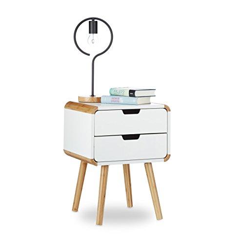 2 Schublade Nachttisch (Relaxdays Nachttisch 2 Schubladen, Holz Nachtschrank, platzsparende Schlafzimmer Kommode, HxBxT: 55 x 40 x 40 cm, weiß)