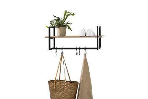 LIFA LIVING Wandgarderobe mit Ablage, Vintage Schweberegal, Regal mit Aufhängungssystem, 5 Haken zum aufhängen von Mänteln und Jacken, MDF- Holz und schwarzem Metall