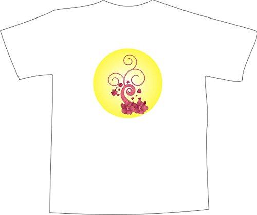 T-Shirt E145 Schönes T-Shirt mit farbigem Brustaufdruck - Logo / Grafik - minimalistische Ranke mit schönen Blüten im Kreis Mehrfarbig