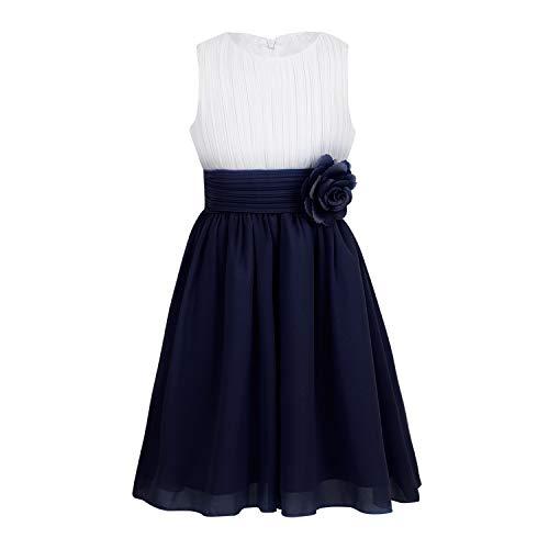 RBHSG Children Teen Sleeveless Pleated Flower Kids Dresses for Girls Princess Dress Wedding Vestidos Birthday Parties Dress Black 6