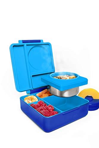 OmieBox Lunchbox (Blue Sky) - Bento Box mit 3 Fächern und auslaufsicher isoliertem Thermo Behälter | Brotdose für Kindergarten Kinder und Schule (Bento-box-container Kids)