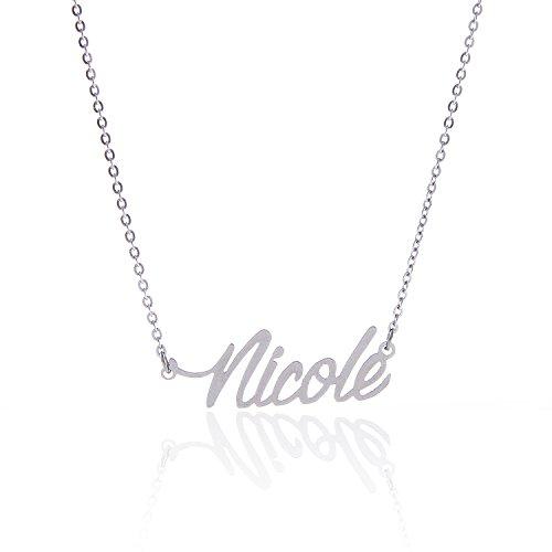 HUAN XUN acier inoxydable Petit Collier prénom, Nicole