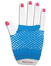 Plain Coloured Short Fishnet Gloves - Blue, Black, White, Red and Purple (Turquoise Blue)