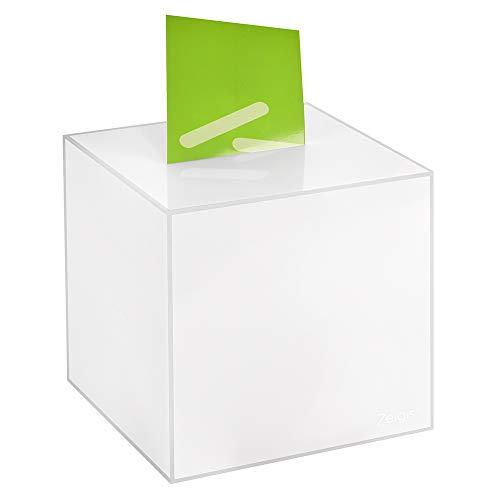 Losbox/Aktionsbox 200x200x200mm opal, aus Acrylglas/Spendenbox / Einwurfbox/Gewinnspielbox / Wahlurne/Acryl / Opal/milchig / undurchsichtig/Milchglas - Zeigis®