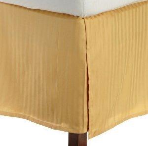 LaxLinens 200 fils/cm², 100% coton, finition élégante 1 jupe plissée de chute Longueur : 18 cm lit Double, petit rayé or
