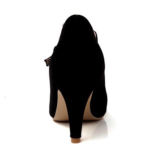 AgooLar Femme Boucle Pointu Stylet Pu Cuir Couleur Unie Chaussures Légeres Noir