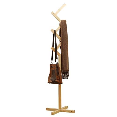 SJY Holz Farbe unabhängige Garderobe, Boden Kleiderbügel Schlafzimmer Kleiderständer Hut Rack Multifunktions Massivholz Kleiderbügel, bodenstehende Korridor Schlafzimmer Home Office Lagerregal,A -