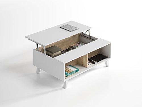Habitdesign 0F6633BO - Mesa de centro elevable comedor salón, color Blanco Brillo y Roble Canadian, medidas: 100x38/48x68 cm de fondo