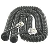 Black Coiled Telephone Phone Handset Cable Cord, Coiled Length 4 Feet To 16 Feet Uncoiled