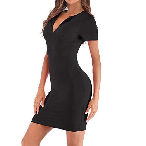 iYmitz Damen Casual Langes Shirt Lose Tunika Kurzarm T-Shirt Slim V-Ausschnitt Kleid(Schwarz,EU-40/CN-XL)