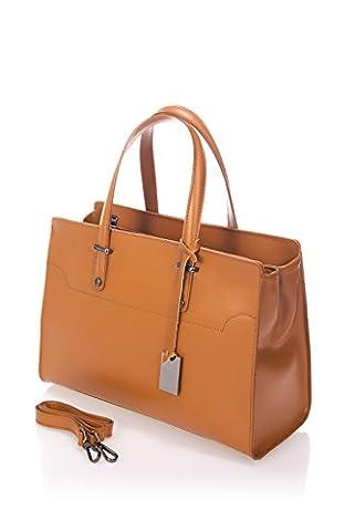 Laura Moretti - Cognac sac en cuir bycast couleur hiver avec fermeture à glissière (style TOTE)