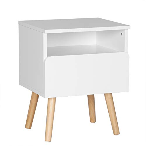 WOLTU® Nachttisch TSR58ws Nachtkommode Nachtschrank Beistelltisch Sofatisch, mit Schublade und Offenem Fach, mit Beinen, Holz, Weiß, 40x33,5x50cm(BxTxH)