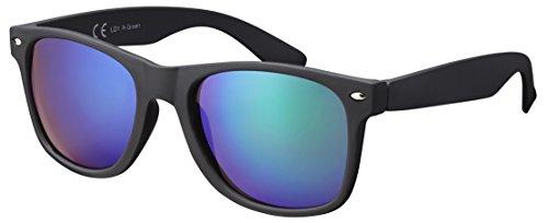 Original La Optica UV400 Verspiegelt Unisex Retro Sonnenbrille - Einzelpack Gummiert/Rubber Schwarz (Gläser: Grün verspiegelt) LO1 R-Green