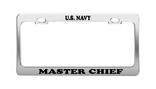 Lionkin8 US Navy Master Chief Nummernschild Rahmen Chrom Metall Auto Zubehör (Chief Us-navy)