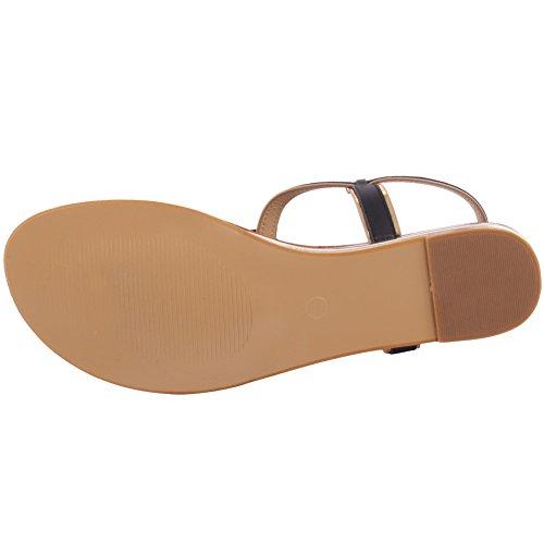 Unze Nuove donne 'Jetsam' infradito metallo Particolare estate Beach Party Get Together Carnevale sandali piana casuale Sling-indietro scarpe UK Size 3-8 Nero