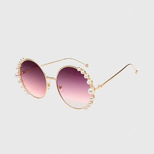 Yuanz Runde Sonnenbrille Damenmode Perle Sonnenbrille weiblichen gradienten Brillen metallrahmen uv400,C6