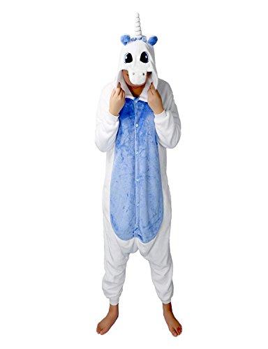 Pyjama Licorne Adulte Unisexe Kigurumi Licorne Combinaison Animaux Unicorn (L, Bleu Profond)