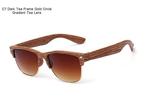 WDDYYBF Sonnenbrillen, Casual Fgrayion Classic Comfort Frame Holz Sonnenbrille Frauen Männer Holz- Brille Riet Brillen U 400 Dunkelbraun Frame Gold Circle Farbverlauf Braun Linse
