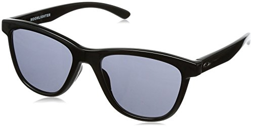 Oakley Damen Sonnenbrille Moonlighter, Schwarz (Polished Black/Grey), 53