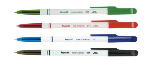 reynolds-lot-de-4-stylos-bille-assortis-v-n-b-r-capuchon-pointe-fine