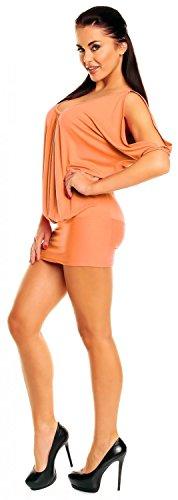Zeta Ville - Top T-shirt Tunique de club - dégageant les épaules - Femme - 221z Abricot