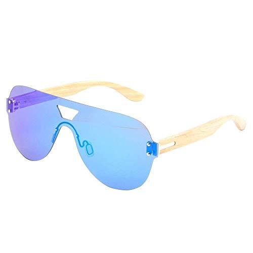 Handgemachte Gläser, UV400 Bambus Schutz Sonnenbrille Reisen Mann und Frau für Baseball Golf Jagen Laufen Fahren Fahrrad Kletterausrüstung / Als Geschenke für Freunde und Verwandte (Farbe: Grau),Blau
