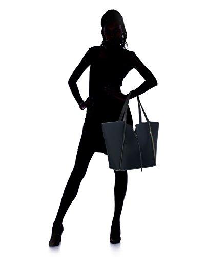 Almo - Borsa da donna made in Italy in neoprene con manici in vera pelle, a spalla, con pochette inclusa Nero