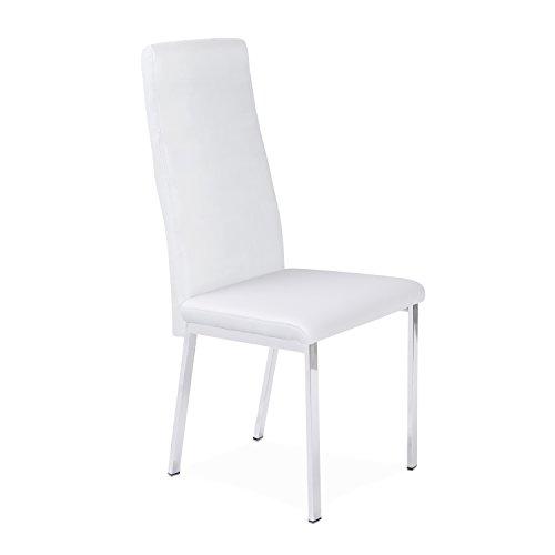 Silla comedor tapizada y estructura cromada modelo TRIESTE color blanco - Sedutahome