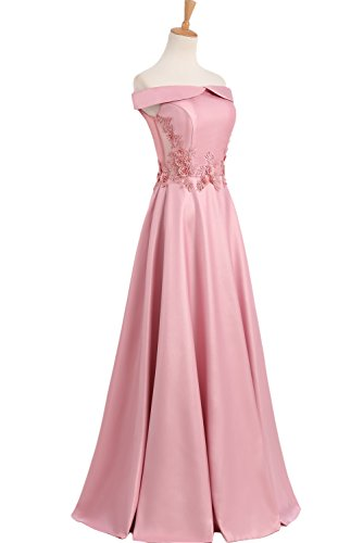 Gorgeous Bride Sexy Rückenfrei Schulterfrei Schnürung A-Linie Bodenlang Abendmode 2017 Damen Abendkleider Ballkleider Lang Cocktailkleider Rosa