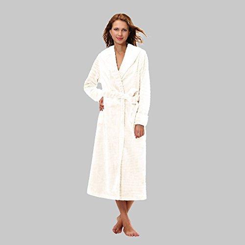 RAIKOU Damen Bademantel Morgenmantel Saunamantel weiches und super flauschiges Coral-Fleece Flausch RelaxKuschelfrottee Microfaser Cream