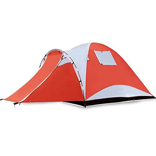 JW-HWZP Regenfestes Zelt im Freien 3-4 Personen Doppeldecker Familienurlaub Camping Winddichtes Aluminium-Mastzelt