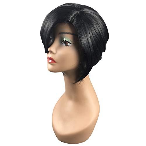 JLBao Kurze Glatte Bob-Stil schwarz & grau matt Lady Haar Perücke,2sets