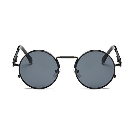 URSING Eyewear Sonnenbrille Runde Hippie Schattierungen Retro Farbige Linsen Runde Spiegelglas...