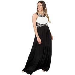 KRISP Vestido Largo Fiesta Ceremonia Elegante, Blanco/Negro (5274), 36, 5274-WHTBLK-08