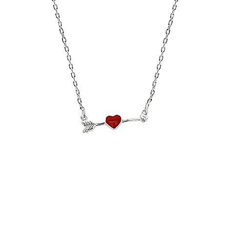 Weiblich Kostüm Amor - HAOHAO S925 Sterling Silber Pfeil durchbohrt Herz Halskette kindliche weibliche Puppe rote Liebe Pfeil Schlüsselbein Kette Silberschmuck