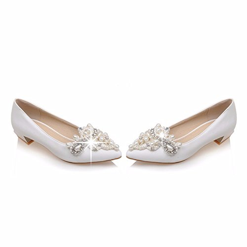 Unique, chaussures Diamond pearl documentaire faible chaussures, chaussures, chaussures de femmes de banquet White