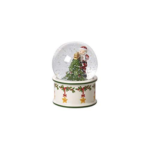 Villeroy & Boch Christmas Toy's kleine Schneekugel, Schüttelkugel mit Santa Claus und Tannenbaum aus Hartporzellan, Glaskugel, bunt