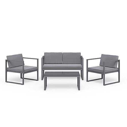 OSKAR Alu Lounge Set grau Sitzgruppe Gartenmöbel Garnitur Sofa hoch Zweisitzer