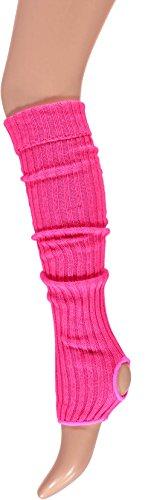 Krautwear® Damen Mädchen Ballettstulpen mit Fersenloch Beinwärmer Ballett Stulpen Legwarmer Armstulpen ca. 55 cm 80er Jahre 1980er Jahre schwarz weiss Neon Pink Grün Gelb Orange (Jahre 80er Stulpen)