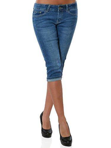 Damen High-Waist Capri-Jeans Sommerhose Kurze Hose No 15892, Farbe:Blau, Größe:XL / 42