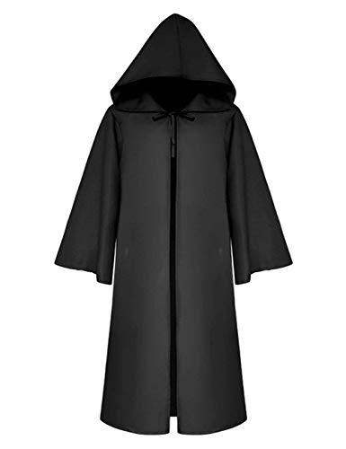 Kostüm Schwarzer Mantel - VERNASSA Erwachsenen-Umhang, Unisex, lang, mit Kapuze, Poncho, Gothic Kleidung, Mittelalter Mantel für Männer, Vampir, Tod, Kostüm, Halloween, Party, Schwarz Gr. S (Etikettengröße M), Schwarz