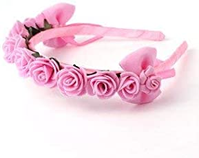Girl's Satin and Foam Rose Crown with Bow Hairband(Pink, SCHB020)