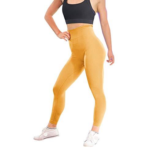 SHUBIHU Damen Yogahose Pilates Uni Twill Hüftgymnastik Hosen Für Fitness Laufhosen Jogginghose Neu 2019 (Gelb, S) -