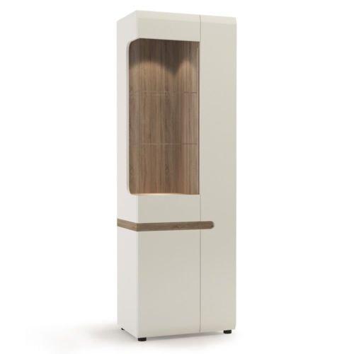 Modulare Breite Schublade (Chelsea Living groß glasiert schmalen Display Einheit (Rechtslenker) in weiß glanz mit Ein Tru)